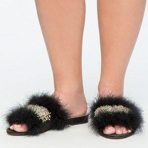 ELOQUII Feather Beaded sandals black satin 12 wide